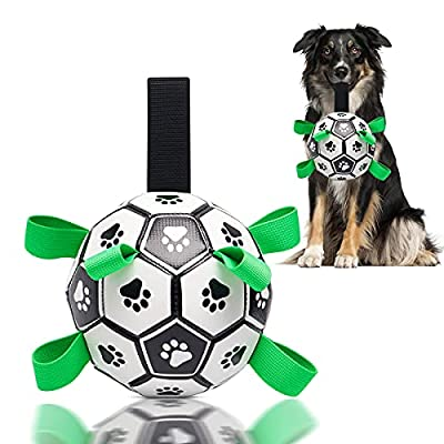 CS COSDDI Dog Football Toys, Interactive Fetch Toy for Dogs, Pet Ball With Retrieval Straps for Tug Games Training & Bonding Exercises, Dog Toys for Small Medium Breed Dog Outdoor Indoor Garden Water