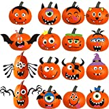 DIYASY Foam Pumpkin Decorations Craft Kit,32 Pcs Halloween DIY Pumpkin Face Stickers for Kids Halloween Party Decoration 2 Pack