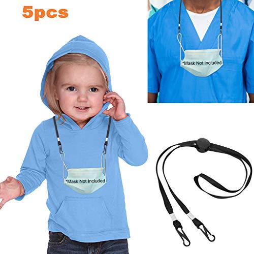 Lanyard Schlüsselband für Gesichtsbedeckung, Mackenkette mit Clip, mackenhalterung, Mackenband für mundschutz Serviettenhalter Lanyard für Arzt, Erwachsene, Kinder (5, Schwarz)