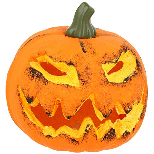 com-four® Kürbis mit LED Beleuchtung - Windlicht für Halloween und Herbst - Deko Kürbis mit gruseliger Fratze (001 Stück - Kürbis 16 cm)