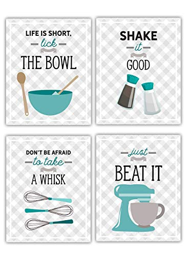 Teal Blue Retro Vintage Kitchen Wall Art Prints - Set of 4-8x10 UNFRAMED Gray, Teal & White Kitchen Utensil Digital Prints Perfect for Rustic, Modern Farmhouse, Mid-Century,Country Decor.