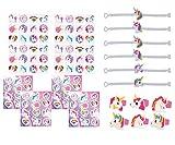 KINPARTY ® - Regalos de UNICORNIO (24 unidades) – Pulseras, anillos, tatuajes y pegatinas – Regalos cumpleaños – Relleno de piñatas - Fiestas