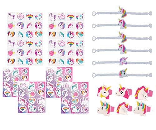 KINPARTY  - Regalos de UNICORNIO (24 unidades) – Pulseras, anillos, tatuajes y pegatinas – Regalos cumpleaños – Relleno de piñatas - Fiestas