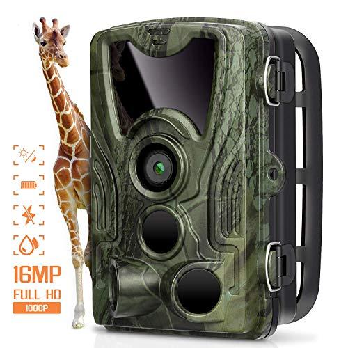 AGM Cámara de Caza Trail Cámara 16MP 1080P Cámara de Animal Salvaje IP66 Impermeable, 0.3s Disparo Velocidad + Visión Nocturna hasta 20m para Monitoreo de Animal y Seguridad Doméstica