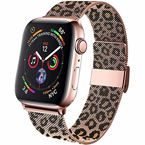 ZSUOOP Bands Compatible with Apple Watch Bands milianese 38mm 40mm 42mm 44mm,Magnetic Stainless Steel Mesh Strap Replacement for iwatch Series 6/5/4/3/2/1/SE women/men(Leopard,42/44mm)
