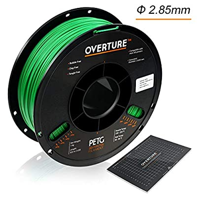 OVERTURE 2.85mm PETG Filament with 3D Build Surface 200mm × 200mm, 1kg Spool (2.2lbs), Dimensional Accuracy +/- 0.05 mm, 3D Printer Consumables Fit Most FDM Printer, Green