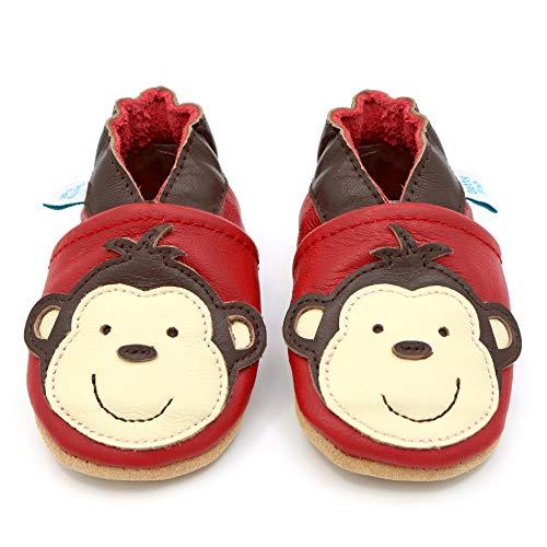 Dotty Fish weiche Leder Babyschuhe mit rutschfesten Wildledersohlen. 3-4 Jahre (27 EU). AFFE Design auf roten Schuh. Jungen und Mädchen. Kleinkind Schuhe.