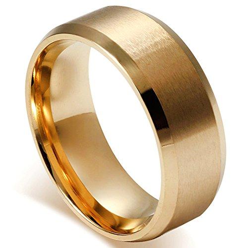 Flongo メンズ指輪 結婚リング ステンレス指輪 シンプル ファション 8MM 愛の証 幸せの鍵 軽量 男の子 プレゼント バレンタインデー クリスマス 記念日 誕生日 ゴールド 「日本サイズ15号」