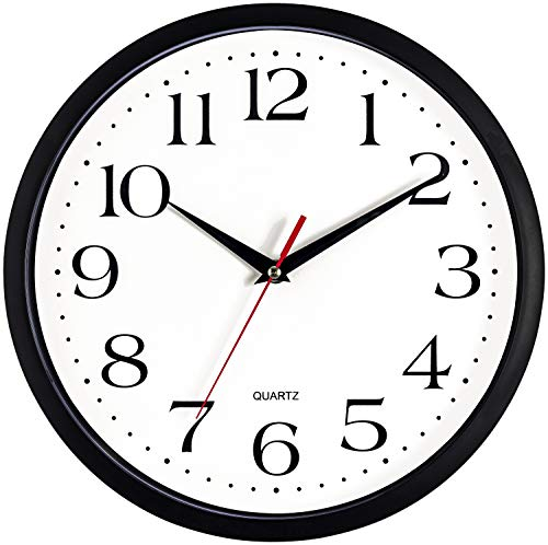 Bernhard Products Black Wall Clock, Silent Non Ticking - 12 Inch Quality Quartz Battery Operated Round Easy to Read Home/Office/School Clock Sweep Movement (12 Inch)