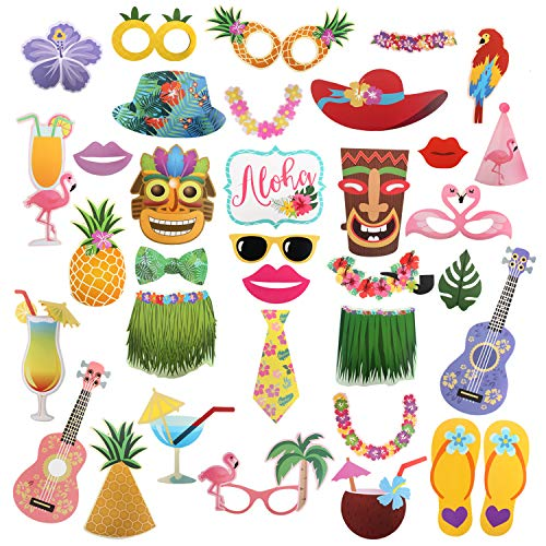 36 Pcs Hawaii Luau Tropical Photo Booth Props Sign Kit- Aloha Summer Pool Selfie Props Table Toppers - Travel Beach Carnival Party Centerpiece Sticks Derocation