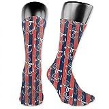 DHNKW Socks Compression Medium Calf Crew Sock,Vertical Stripes With Artistic Figures Harbor Seaport...