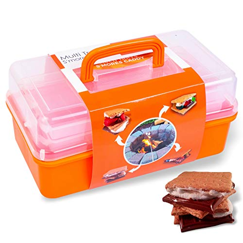 SUMPRI Smores Caddy with TWO FOLDING TRAYS -Smore Box That Keeps Your Marshmallow Roasting Sticks/Crackers/Chocolate Bars Organized -Fire Pit accessories Kit,Campfire Smore Skewers Storage Box(Orange)