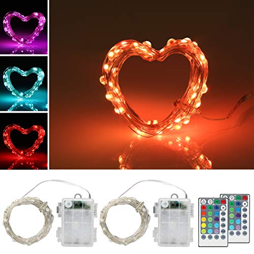ANJAYLIA 2 Pack 50 LED Fairy String Lights Battery Operated, Waterproof 16 Colors Changing Twinkle Firefly Lights with Remote Timer for Indoor Bedroom Party Halloween Christmas Decor