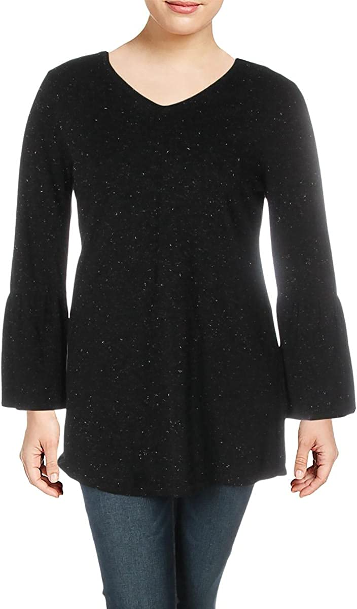 Style & Co. Womens Glitter Long Sleeves Tunic Sweater