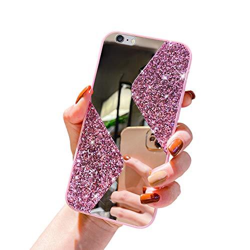 Herbests Funda Compatible con iPhone 6 Plus/6S Plus - Funda de Silicona Purpurina Lentejuelas + Espejo Carcasa de Elegante Ultra Delgada Cover Case TPU Bumper Antishock Cubierta,Rosado