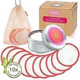 10 Bambus Abschminkpads Waschbar bis 60°C | für jeden Hauttyp | Dose & Baumwoll Waschbeutel |...