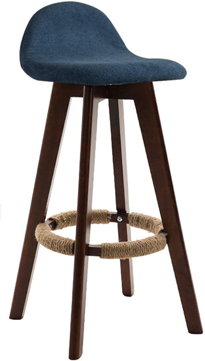 Square Wooden Leg Bar Chair, Kitchen Cafe Counter High Stool Stool Bench Linen Cushion, Stylish Modern Style (color   Brown, Size   Seat Height 63cm)