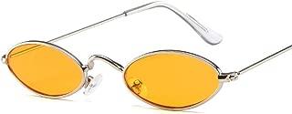 Fashion Retro Look Quality Sunglasses Unisex Punk Style Oval Sunglasses Small Metal Frame Round Sunglasses Small Style Sunglasses Retro (Color : Orange)