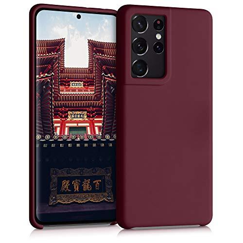 kwmobile Funda Compatible con Samsung Galaxy S21 Ultra - Carcasa de TPU para móvil - Cover Trasero en Rojo Vino