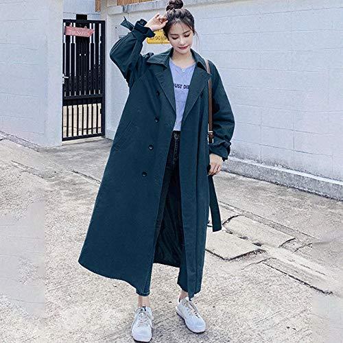 Jskdzfy Chaquetas de mujer para mujer, abrigo largo de solapa de gran tamaño, doble botonadura, color sólido, abrigos sueltos para mujer (color: azul, tamaño: XXXL)