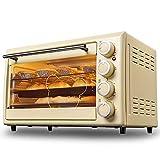 Horno eléctrico manual autónomo, horno de pizza multifuncional de gran capacidad de 30 l, operación simple de la perilla, temporización de 60 minutos, mango de acero inoxidable anti-calor, vidrio endu