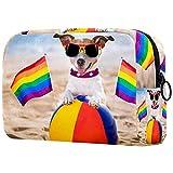 Bolsa Maquillaje Almacenamiento organización Artículos tocador cosméticos Estuche portátil Perro Gay en la Bola de Playa para Viajes Aire Libre