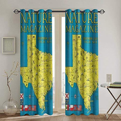 LISUMAL blickdichte Gardine mit Ösen und stilvollem 116x137cm,Nature Magazine Detaillierte Karte des Bundesstaates Texas mit malerischen Sehenswürdigkeiten,Vorhang für Schlafzimmer, Wohnzimmer
