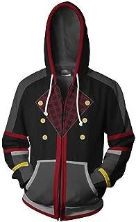 VOSTE Sora Aqua Costume Halloween Game Cosplay Zip Up Jacket Pullover Hoodie for Unisex