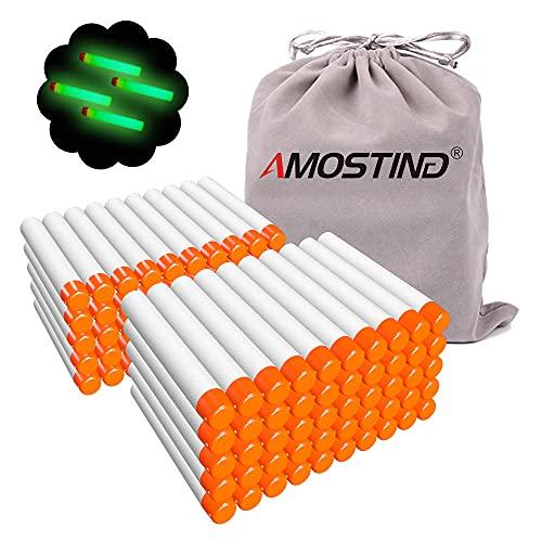 AMOSTING Pfeile für Nerf 100 Stück 7,2 cm Refill Pfeile Foam Darts mit Spielzeugtasche für N-Modulus Elite Fortnite Strike Blasters Serien -Weiß -Leuchten im Dunkeln