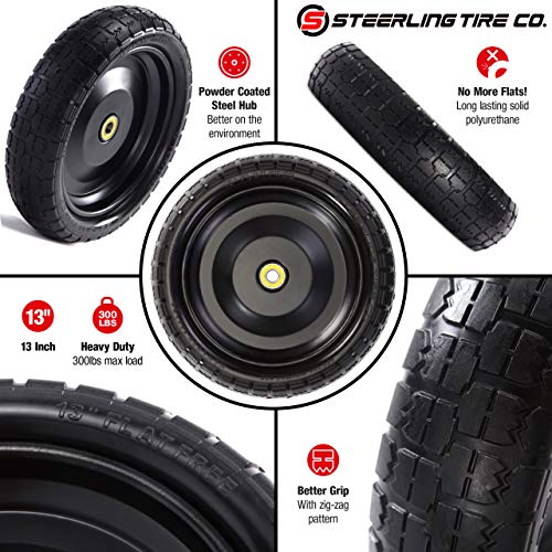 "Steerling Tire Co. 13"" Flat-Free Wheelbarrow Tires - Includes 2 Replacement Wheels, Cotter Pins and Washers - Easy Installation, Compatible with Gorilla Carts, Trolleys, Generators and More"