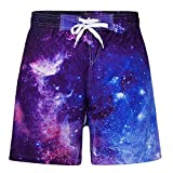 Idgreatim Boys Space Swimming Trunks 3D Planet Graphic Waterproof Surfing Boardshorts Active Outdoor Sports Running Shorts with Mesh Lining 9-10 Years
