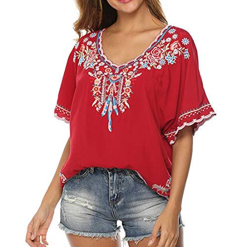 Túnica Boho para Mujer Vestido Hippie con Flores de Playa de Verano con Cuello en V Vestido Camiseta Suelta Mini Vestido Floral Tops Bordados Bohemios Mangas 3/4 Blusas túnicas Sueltas Bohemias