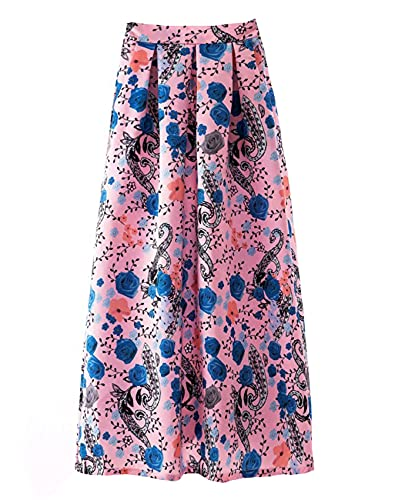 WZXHNYYZYQ Spring and Summer Ladies Retro Skirts Polka Dot Casual Big Hem Long Skirt
