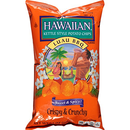 Hawaiian Kettle Style Potato Chips, Luau BBQ, 7.5 Ounce