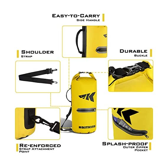 Kastking cyclone seal dry bag - 100% waterproof bag with phone case front zippered pocket, perfect for beach, fishing, kayaking, boating, hiking, camping, biking, skiing 4 durable construction dry bag - designed for active water sports and dusty environments the kastking cyclone seal dry bag is rugged, flexible, and abrasion resistant. A super strong and abrasion resistant 500d pvc construction with precision ultrasonic welded seams provide a superior seal to prevent water intrusion. Provides a complete waterproof bag system for any environment. Perfect for fishing, camping, kayaking, hiking, beach, boating waterproof protection – the kastking cyclone dry bag seal system provides an extra layer of pvc to ensure a best-in-class waterproof seal on a dry storage bag. Gives you total piece of mind to protect your valuable items from getting wet. Also has special splash-proof outer zipper pocket. Heavy duty - tough, resilient spider buckle will not fatigue and break. Heavy duty self-locking clips will hold oversize loads. Cyclone waterproof bag buckles and clips are made of heavy-duty nylon and will not rust in any wet conditions. Reinforced strap attachment points.