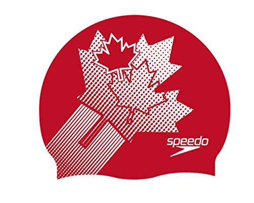 Speedo Flat Silc Cap Canada Au, Cuffia Nuoto in Silicone Unisex Adulto, Multicolore (Canada Flag), Taglia Unica
