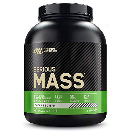 Optimum Nutrition ON Serious Mass Hochkalorisches Weight Gainer Protein Pulver, Whey Protein, Vitamine, Kreatin und Glutamin, Cookies & Cream, 8 Portionen, 2.73kg, Verpackung kann Variieren