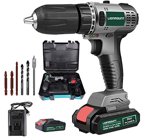 LionMount Brushless 20V Cordless Drill Driver Kit, 610In-Lbs Power, 2 Gear Speed, 1/2'' Keyless Chuck, 25 Torque Setting, LED, charger, case, 6pcs Impact Driver/Drill Bits Pro Set