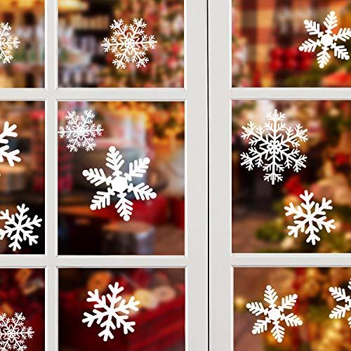 NOCHME Schneeflocken Fensterdeko Weihnachten, 108 PCS Statische Fensteraufkleber für Fenster, Fensterbild, Weihnachtsfensterbilder, Weihnachtsdeko, Fensterbilder, Fensterfolie PVC-Aufkleber (Weiß)