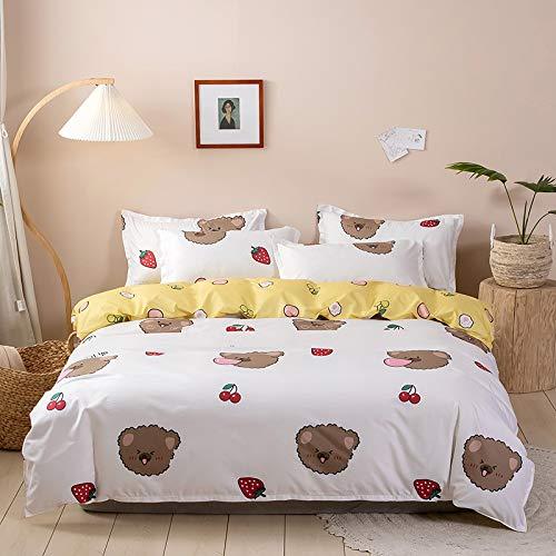 MMHJS Bettbezug-Kit Aus Mikrofaser 4-Teilige Bettwäsche Mit Reißverschluss Kissenbezug Decke Bettdecke
