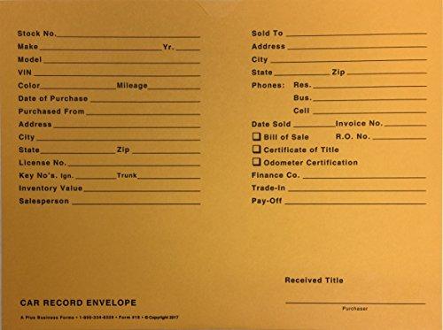 A Plus Automotive Vehicle Dealer File Jackets #19 Car Record Envelope - 500 Qty (W17)