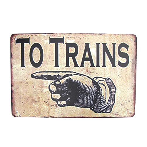 Treasure Gurus Vintage Finger Point Arrow to Trains Sign Garage Man Cave Railroad RR Wall Door Art Decor
