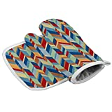 Zeyustge Set of Oven Mitt (7 x 13 Inches) and Pot Holder (8 x 8 Inches), 100% Cotton, Machine Washable (Pattern S 26)