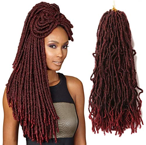 New Crochet Faux Locs 18 Inch Burgundy Soft Braiding Hair Dreads Extensions Dreadlocs Synthetic Goddess Pre Looped Curly Wavy Braid For Black Women 6 Packs 85g