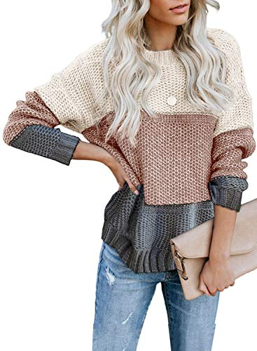 FIYOTE Damen Strickpullover Farbblock Pullover Casual Winter Sweater Sweatshirt Winter Bluse Streifenpullover 4 Farbe S/M/L/XL/XXL, 1-himmelgrau, Small(EU34-36)