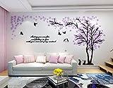 Alicemall 3D Adesivi Murali Wall Sticker Forma Albero Adesivi da Parete in Acrilico Foresta con Multicolore Foglie (Foresta Viola)