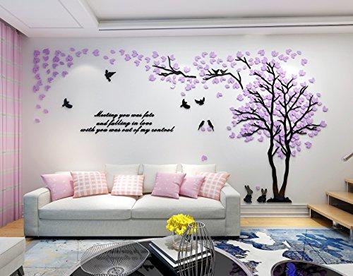 Vinilo Árbol Adhesivo 2.87*1.5m Pegatinas Pared con Hojas Purpura Derecho Decoracion Hogar para Sala de Estar Salon Tatuajes Pared Acrilico