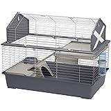 Ferplast Spacieuse cage pour lapins BARN 100 pour petits animaux, style granges américaines, dessus de cage pouvant être ouvert, accessoires et adhésifs inclus, 96 x 57 x h 73 cm, Gris