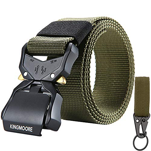 KingMoore Tactical Belt, Nylon EDC Belt Heavy Duty Work Belt Quick-Release with Metal Buckle (XL (42''-46'')_Army Green)