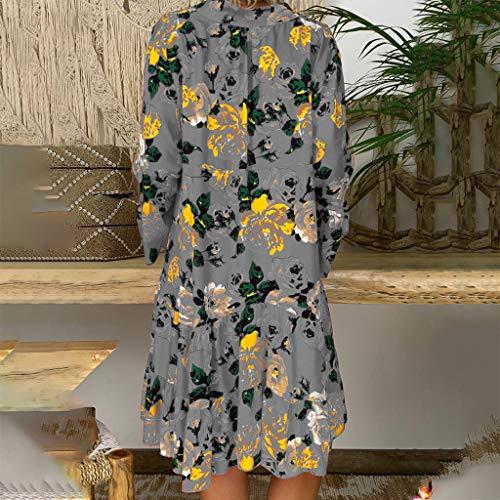 Vestidos Mujer Verano 2019 Nuevo SHOBDW Cuello en V Llamarada Manga Larga Elegant Vestidos Playa Boho Floral Mini Vestidos Vintage Fiesta Vestidos Mujer Cortos Talla Grande(Gris,5XL)